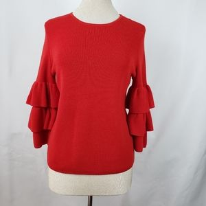 J.McLaughlin red tiered sleeve sweater,  S.